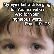 My eyes fail with longing for Your salvation And for Your righteous word. Psa. 119:123 | image tagged in longing | made w/ Imgflip meme maker
