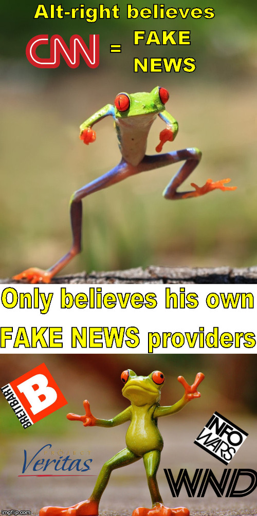 Admit it, the liberal press is just playing catch up to the right wing press | ALT-RIGHT BELIEVES CNN = FAKE NEWS ONLY BELIEVES HIS OWN FACKE NEWS PROVIDERS BRIETBART WND PROJECT VERITAS INFO WARS | image tagged in fake news,cnn,memes,project veritas,info wars,wnd | made w/ Imgflip meme maker
