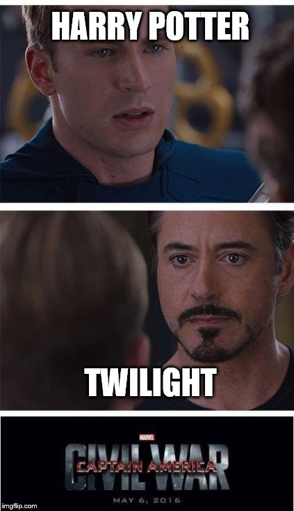 Marvel Civil War 1 Meme | HARRY POTTER TWILIGHT | image tagged in memes,marvel civil war 1 | made w/ Imgflip meme maker