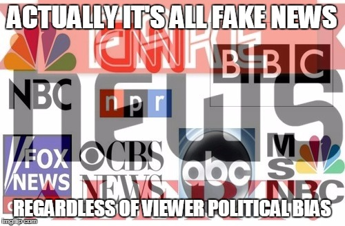 ACTUALLY IT'S ALL FAKE NEWS REGARDLESS OF VIEWER POLITICAL BIAS | made w/ Imgflip meme maker