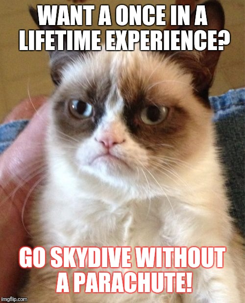 Grumpy Cat Meme | WANT A ONCE IN A LIFETIME EXPERIENCE? GO SKYDIVE WITHOUT A PARACHUTE! | image tagged in memes,grumpy cat | made w/ Imgflip meme maker