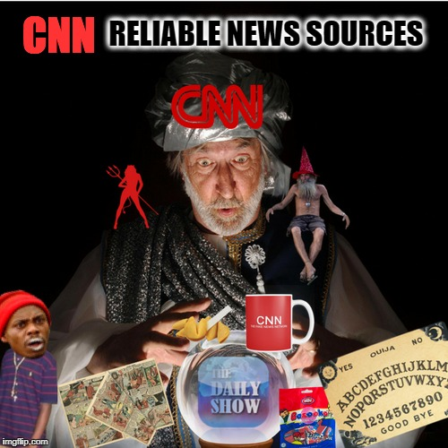 fiction fake make believe tabloid cnn   | CNN RELIABLE NEWS SOURCES | image tagged in cnn,cnn fake news,memes,funny,psychic with crystal ball | made w/ Imgflip meme maker