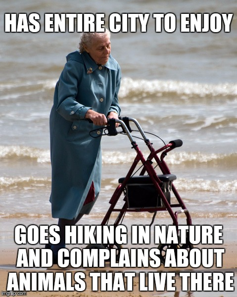 Old People Problems | HAS ENTIRE CITY TO ENJOY GOES HIKING IN NATURE AND COMPLAINS ABOUT ANIMALS THAT LIVE THERE | image tagged in old lady on beach,memes,funny,old people,problems | made w/ Imgflip meme maker