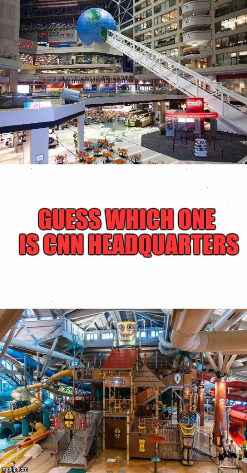 The Answer May Fool You | GUESS WHICH ONE IS CNN HEADQUARTERS | image tagged in cnn,cnn crazy news network,cnn sad | made w/ Imgflip meme maker