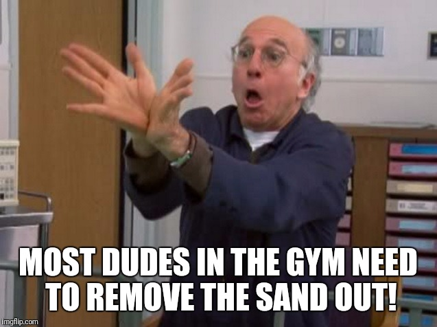 MOST DUDES IN THE GYM NEED TO REMOVE THE SAND OUT! | image tagged in larry david huge vagina | made w/ Imgflip meme maker