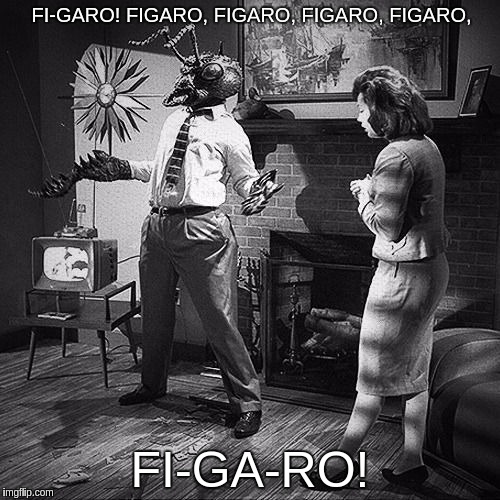 FI-GARO! FIGARO, FIGARO, FIGARO, FIGARO, FI-GA-RO! | image tagged in fly headed man from comedy move matinee 1993 | made w/ Imgflip meme maker
