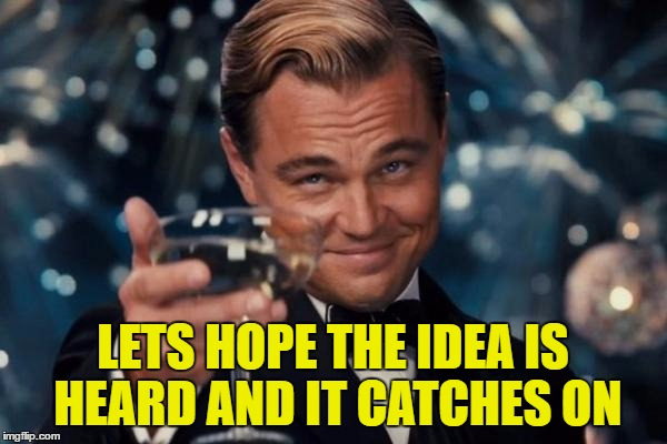 Leonardo Dicaprio Cheers Meme | LETS HOPE THE IDEA IS HEARD AND IT CATCHES ON | image tagged in memes,leonardo dicaprio cheers | made w/ Imgflip meme maker