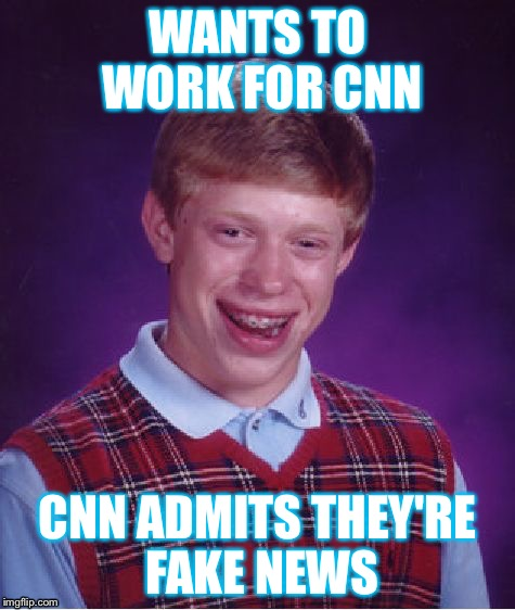 Bad Luck Brian Meme | WANTS TO WORK FOR CNN CNN ADMITS THEY'RE FAKE NEWS | image tagged in memes,bad luck brian | made w/ Imgflip meme maker