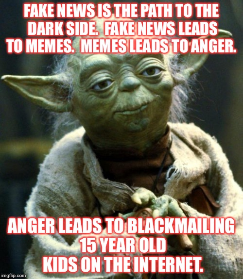 Star Wars Yoda | FAKE NEWS IS THE PATH TO THE DARK SIDE.  FAKE NEWS LEADS TO MEMES.  MEMES LEADS TO ANGER. ANGER LEADS TO BLACKMAILING 15 YEAR OLD KIDS ON TH | image tagged in memes,star wars yoda | made w/ Imgflip meme maker