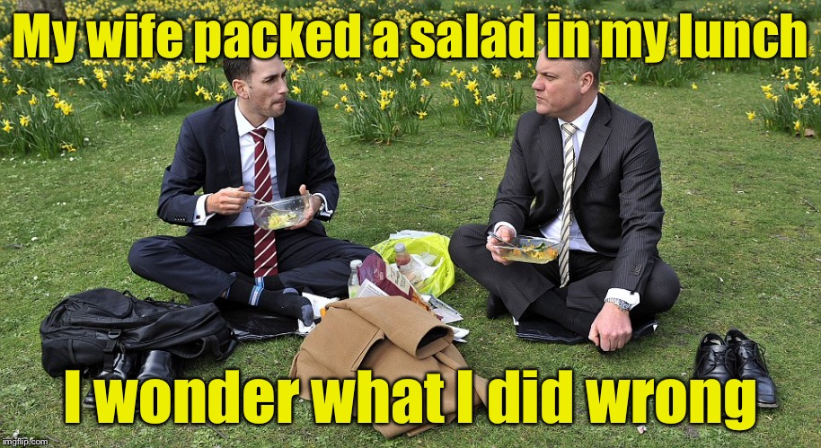 Subtle Hint | My wife packed a salad in my lunch I wonder what I did wrong | image tagged in lunch time,memes,husband | made w/ Imgflip meme maker