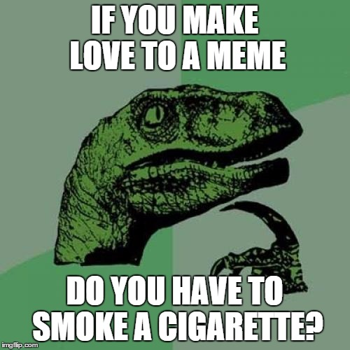 Philosoraptor Meme | IF YOU MAKE LOVE TO A MEME DO YOU HAVE TO SMOKE A CIGARETTE? | image tagged in memes,philosoraptor | made w/ Imgflip meme maker