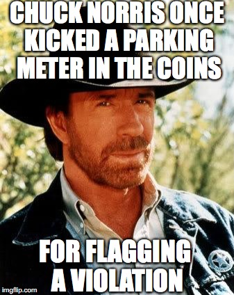CHUCK NORRIS ONCE KICKED A PARKING METER IN THE COINS FOR FLAGGING A VIOLATION | made w/ Imgflip meme maker