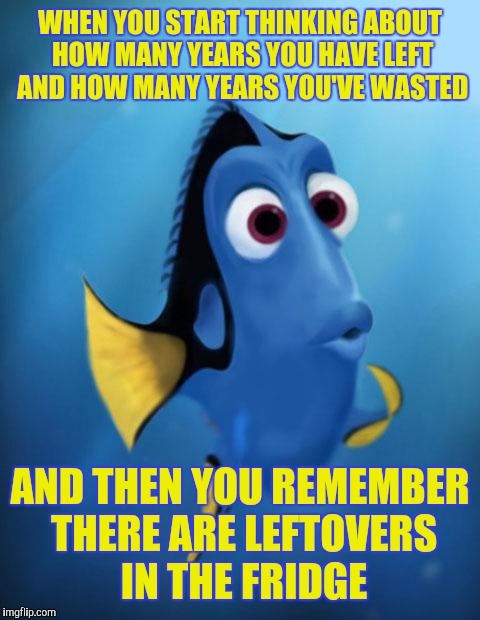 Oh look | WHEN YOU START THINKING ABOUT HOW MANY YEARS YOU HAVE LEFT AND HOW MANY YEARS YOU'VE WASTED AND THEN YOU REMEMBER THERE ARE LEFTOVERS IN THE | image tagged in dory | made w/ Imgflip meme maker