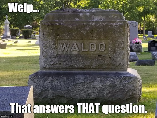 Where's Wald-OHHhhh.... | Welp... That answers THAT question. | image tagged in waldo tombstone,memes,where's waldo | made w/ Imgflip meme maker
