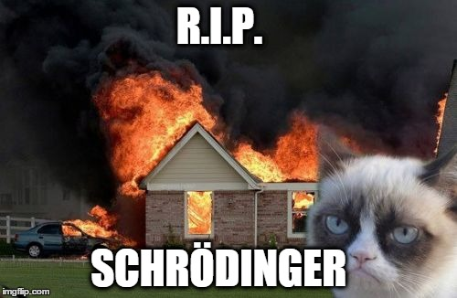 Schrödinger's Cat is Grumpy | R.I.P. SCHRÖDINGER | image tagged in memes,burn kitty,grumpy cat,schrodinger,schrodinger's cat,dead or alive | made w/ Imgflip meme maker