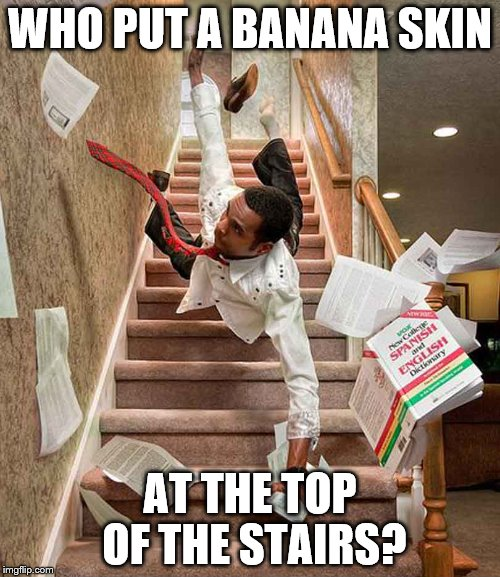 Falling down the stairs | WHO PUT A BANANA SKIN AT THE TOP OF THE STAIRS? | image tagged in falling down the stairs | made w/ Imgflip meme maker