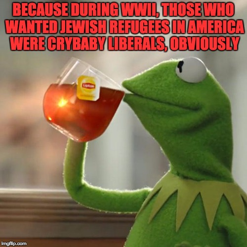 But Thats None Of My Business Meme | BECAUSE DURING WWII, THOSE WHO WANTED JEWISH REFUGEES IN AMERICA WERE CRYBABY LIBERALS, OBVIOUSLY | image tagged in memes,but thats none of my business,kermit the frog | made w/ Imgflip meme maker