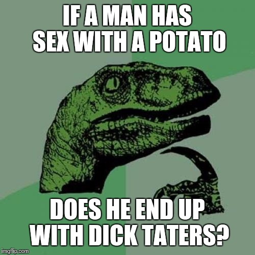 Philosoraptor Meme | IF A MAN HAS SEX WITH A POTATO DOES HE END UP WITH DICK TATERS? | image tagged in memes,philosoraptor | made w/ Imgflip meme maker