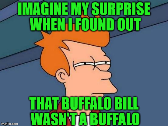 Futurama Fry Meme | IMAGINE MY SURPRISE WHEN I FOUND OUT THAT BUFFALO BILL WASN'T A BUFFALO | image tagged in memes,futurama fry | made w/ Imgflip meme maker