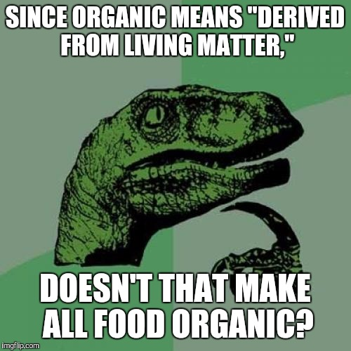 "Philosoraptor Meme | SINCE ORGANIC MEANS ""DERIVED FROM LIVING MATTER,"" DOESN'T THAT MAKE ALL FOOD ORGANIC? 