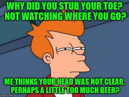 Futurama Fry Meme | WHY DID YOU STUB YOUR TOE? NOT WATCHING WHERE YOU GO? ME THINKS YOUR HEAD WAS NOT CLEAR, PERHAPS A LITTLE TOO MUCH BEER? | image tagged in memes,futurama fry | made w/ Imgflip meme maker