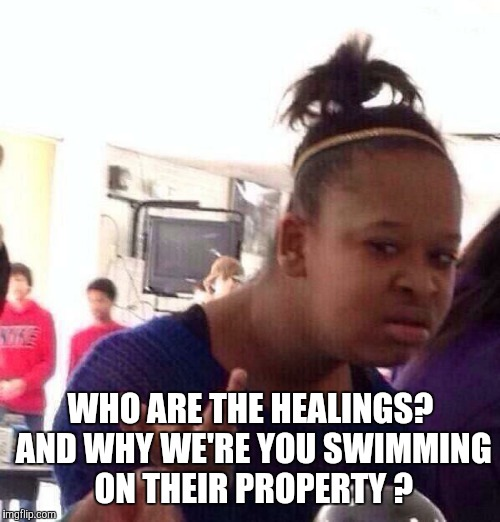 Black Girl Wat Meme | WHO ARE THE HEALINGS? AND WHY WE'RE YOU SWIMMING ON THEIR PROPERTY ? | image tagged in memes,black girl wat | made w/ Imgflip meme maker