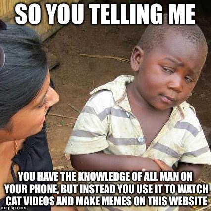 Third World Skeptical Kid Meme | SO YOU TELLING ME YOU HAVE THE KNOWLEDGE OF ALL MAN ON YOUR PHONE, BUT INSTEAD YOU USE IT TO WATCH CAT VIDEOS AND MAKE MEMES ON THIS WEBSITE | image tagged in memes,third world skeptical kid | made w/ Imgflip meme maker