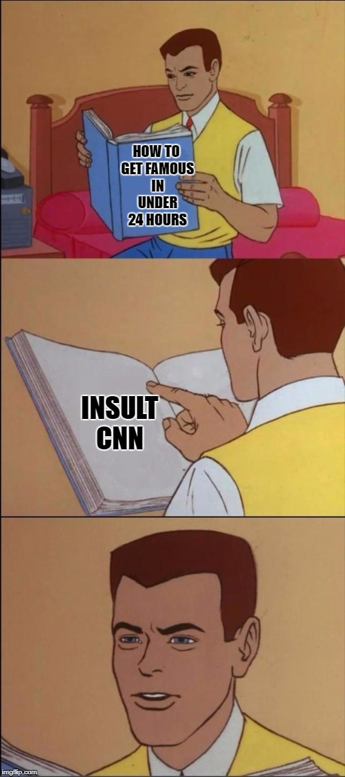 CNN | HOW TO GET FAMOUS IN UNDER 24 HOURS INSULT CNN | image tagged in the book of faggets | made w/ Imgflip meme maker
