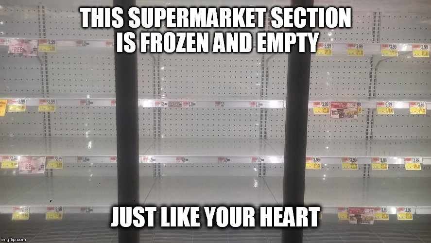 THIS SUPERMARKET SECTION IS FROZEN AND EMPTY JUST LIKE YOUR HEART | image tagged in empty freezer | made w/ Imgflip meme maker
