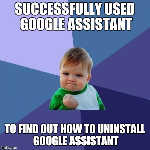 I never asked for this crap! What if I can't be talking at my phone, but I need to look something up? | SUCCESSFULLY USED GOOGLE ASSISTANT TO FIND OUT HOW TO UNINSTALL GOOGLE ASSISTANT | image tagged in memes,success kid,uninstall google assistant | made w/ Imgflip meme maker