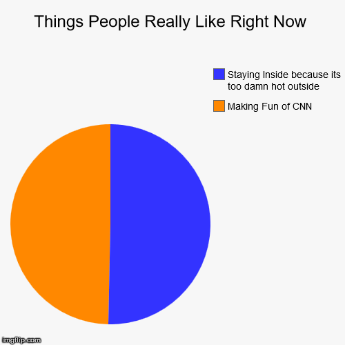Things People Really Like Right Now | Making Fun of CNN, Staying Inside because its too damn hot outside | image tagged in funny,pie charts | made w/ Imgflip pie chart maker