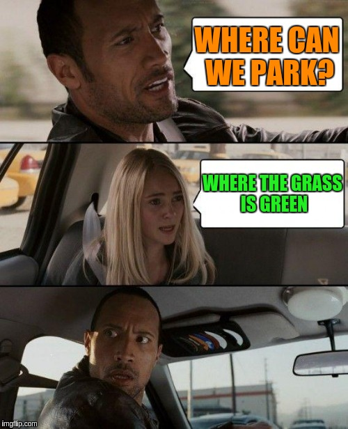 The Rock Driving Meme | WHERE CAN WE PARK? WHERE THE GRASS IS GREEN | image tagged in memes,the rock driving | made w/ Imgflip meme maker