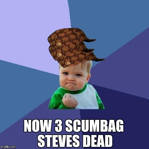Success Kid Meme | NOW 3 SCUMBAG STEVES DEAD | image tagged in memes,success kid,scumbag | made w/ Imgflip meme maker