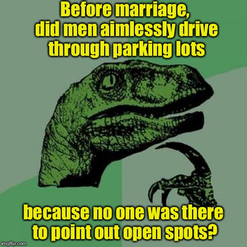 Philosoraptor Meme | Before marriage, did men aimlessly drive through parking lots because no one was there to point out open spots? | image tagged in memes,philosoraptor | made w/ Imgflip meme maker