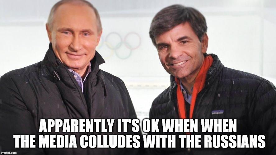 Giggling Georgie Boy | APPARENTLY IT'S OK WHEN WHEN THE MEDIA COLLUDES WITH THE RUSSIANS | image tagged in politicians,fake news | made w/ Imgflip meme maker