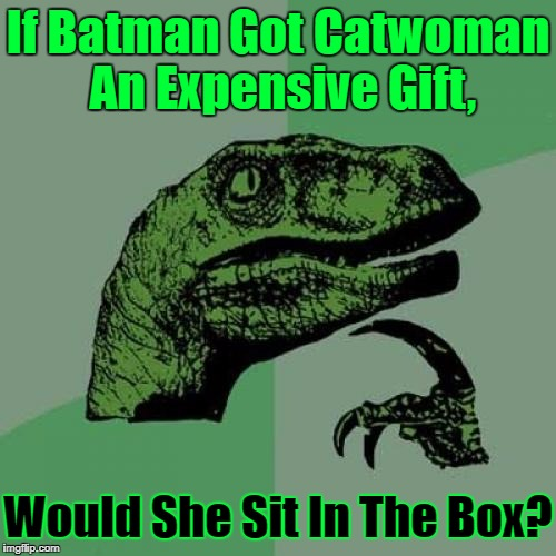 If It Fits, She Sits! ≧^◡^≦ | If Batman Got Catwoman An Expensive Gift, Would She Sit In The Box? | image tagged in memes,philosoraptor,catwoman,socrates,not stolen,original meme | made w/ Imgflip meme maker