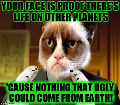 Grumplio A. Sourpusskalos keeps it real (ɔ◔‿◔)ɔ  | YOUR FACE IS PROOF THERE'S LIFE ON OTHER PLANETS 'CAUSE NOTHING THAT UGLY COULD COME FROM EARTH! | image tagged in grumpliens memestrocity,memes,grumpy cat,ancient aliens,grumpy cat insults,beauty | made w/ Imgflip meme maker