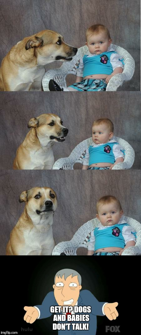 A dog and a baby | GET IT? DOGS AND BABIES DON'T TALK! | image tagged in memes | made w/ Imgflip meme maker