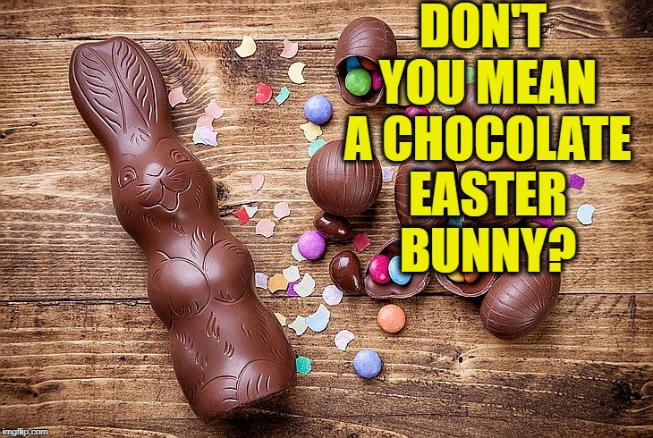 DON'T YOU MEAN A CHOCOLATE EASTER BUNNY? | made w/ Imgflip meme maker