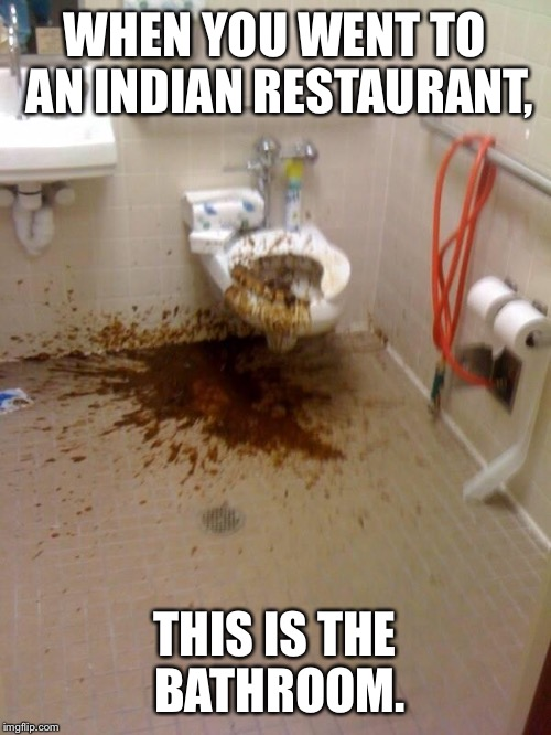 Indian Restaurant Bathroom | WHEN YOU WENT TO AN INDIAN RESTAURANT, THIS IS THE BATHROOM. | image tagged in girls poop too | made w/ Imgflip meme maker
