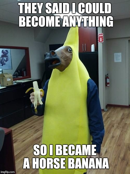 Horse Banana | THEY SAID I COULD BECOME ANYTHING SO I BECAME A HORSE BANANA | image tagged in costumes | made w/ Imgflip meme maker