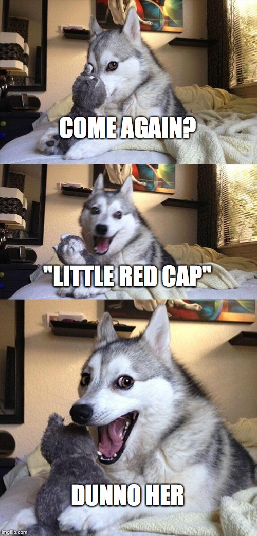 "Bad Pun Dog Meme | COME AGAIN? ""LITTLE RED CAP"" DUNNO HER 