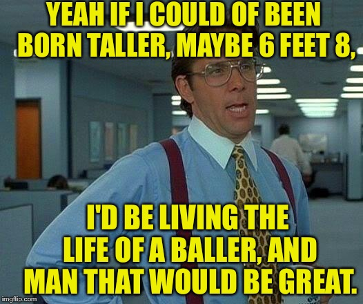 I \/\/ish I \/\/as _ L:++le Bit Taller | YEAH IF I COULD OF BEEN BORN TALLER, MAYBE 6 FEET 8, I'D BE LIVING THE LIFE OF A BALLER, AND MAN THAT WOULD BE GREAT. | image tagged in memes,that would be great,basketball,rap,battle,cat collaboration | made w/ Imgflip meme maker