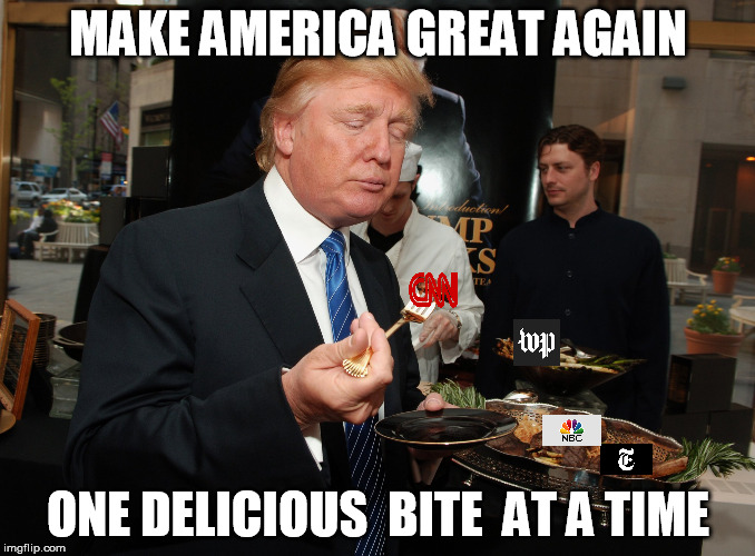 MAKE AMERICA GREAT AGAIN ONE DELICIOUS  BITE  AT A TIME | image tagged in cnn,fake news,cnn very fake news | made w/ Imgflip meme maker