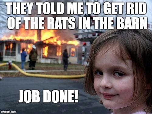 Barnburner! | THEY TOLD ME TO GET RID OF THE RATS IN THE BARN JOB DONE! | image tagged in memes,disaster girl | made w/ Imgflip meme maker