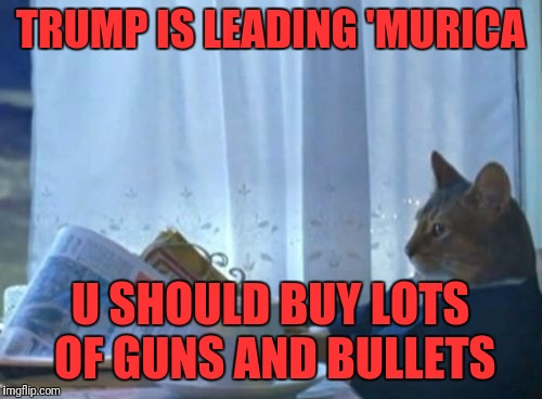 I Should Buy A Boat Cat Meme | TRUMP IS LEADING 'MURICA U SHOULD BUY LOTS OF GUNS AND BULLETS | image tagged in memes,i should buy a boat cat | made w/ Imgflip meme maker