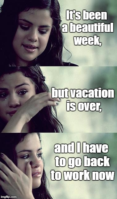 selena gomez crying | It's been a beautiful week, and I have to go back to work now but vacation is over, | image tagged in selena gomez crying | made w/ Imgflip meme maker