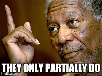 Morgan Freeman pointing | THEY ONLY PARTIALLY DO | image tagged in morgan freeman pointing | made w/ Imgflip meme maker