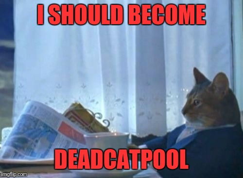 Batman?  No.... Iron Man?  No...  I know! | I SHOULD BECOME DEADCATPOOL | image tagged in memes,i should buy a boat cat,funny,funny memes,dank memes | made w/ Imgflip meme maker