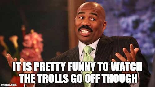 Steve Harvey Meme | IT IS PRETTY FUNNY TO WATCH THE TROLLS GO OFF THOUGH | image tagged in memes,steve harvey | made w/ Imgflip meme maker
